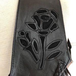 Unik Jackets & Coats - Unik Black Leather Rose Fringe Vest Size Small